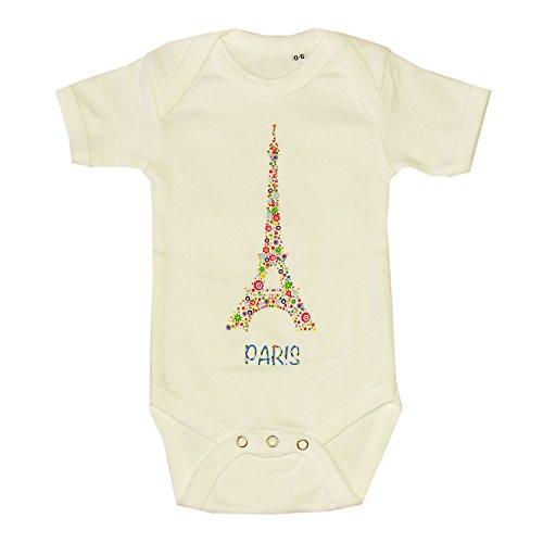 Body Bébé Paris 'Tour Eiffel Fleurie' - Blanc (6-12 Mois)