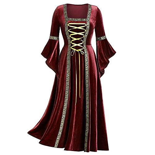 BIBOKAOKE Vestido medieval para mujer, con mangas de trompeta, estilo retro, gtico, renacentista, cosplay victoriano, disfraz de bruja, vestido de noche