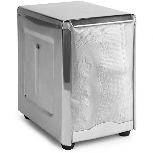 Back of House Ltd Commercial Spring-Load Stainless Steel Low-Fold Napkin Dispenser for Restaurants Diners Home Use
