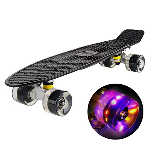 hausmelo Skateboard Mini Cruiser Retro Board Komplettboard für Anfänger Kinder Jugendliche und Erwachsene, 22 Zoll Komplett Board 57x16cm mit ABEC-7 Kugellager, LED PU Leuchtrollen, T-Tool (Schwarz)