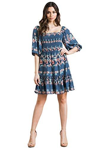 Off Shoulder Smock Mini Dress - Floral Ruffle Bubble Sleeve Cute Dress 1828_Dustyblue S