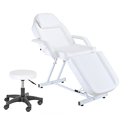 Anaelle Pandamoto Tabledu Massage Réglable Lit du Massage Pliante en Cuir PU avec Tabouret pour Salon Professionnel et Maison, Poids: 31kg, Blanc