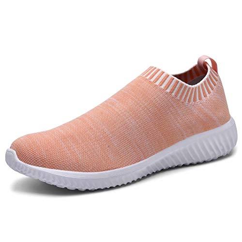 konhill Women 's Walking Tennis Shoes - Lightweight Athletic Sport Gym Slip on Sneakers 11 US Pink,45