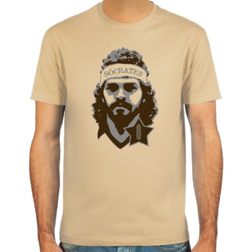 SpielRaum Camiseta Sócrates ::: Color: Azul Claro, Beige o Blanco ::: Tallas: S-XXL (Fútbol)