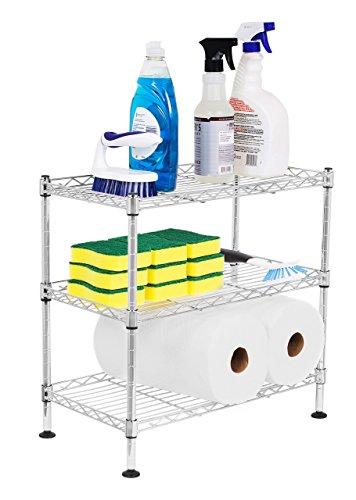 Internet's Best 3-Tier Mini Wire Utility Shelving - Chrome - Shelf - Adjustable Rack Unit - Kitchen Bathroom Pantry Laundry Storage - Under The Sink Organization - Organize Your Cabinets - SPI