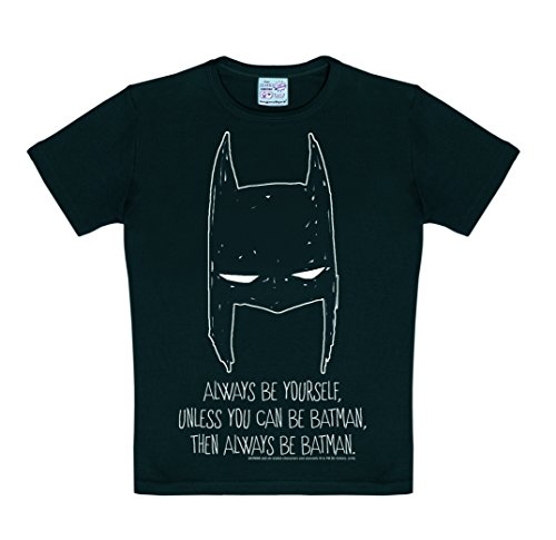 Logoshirt DC Comics - Batman - Always Be Yourself Camiseta para niño - Negro - Diseño Original con Licencia