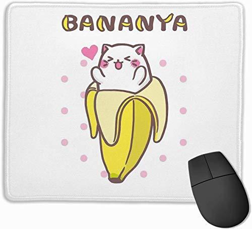 Bananya Banana Cat Kawaii Anime Manga Kitty rutschfeste Gummi Mousepad Gaming Mouse Pad mit genähten Rand 11,8 \'x 9,8\'