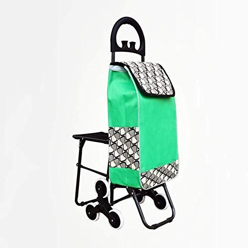 NYDZDM Einkaufstrolley, klein, tragbar, für ältere Menschen, Klappstuhl, Haushaltswagen (Farbe: Grau, Größe: mit Sitz)