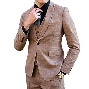 [Wenergy] スリーピーススーツ メンズ スーツセットアップ チェック柄カジュアル スリムスーツ入学式結婚式二次会披露宴ビジネスパーティー (キャメル, L/31)