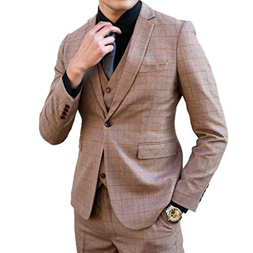[Wenergy] スリーピーススーツ メンズ スーツセットアップ チェック柄M~4XLスリムスーツ成人式結婚式二次会披露宴ビジネスパーティー (キャメル, XL)