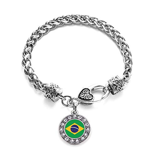 Inspired Silver - Brazilian Flag Braided Bracelet for Women - Silver Circle Charm Bracelet with Cubic Zirconia Jewelry