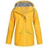 Giacca da donna U/A, impermeabile con cappuccio impermeabile, giacca a vento leggera Giallo 4XL
