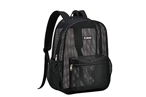 Ciiming Mesh Backpack for School, Beach, and Travel, with Padded Shoulder Straps (Black)