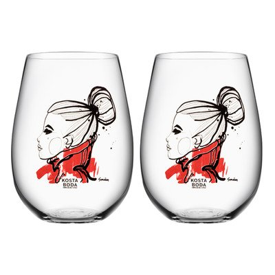 Kosta Boda All About You 21.4 Ounce Tumbler Two Pack, Want You, Red