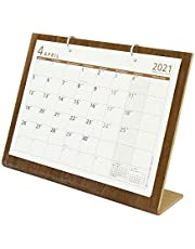 オーブ 2021年 カレンダー 4月始まり 卓上 シンプルウッド L ブラウン WDS-900BR