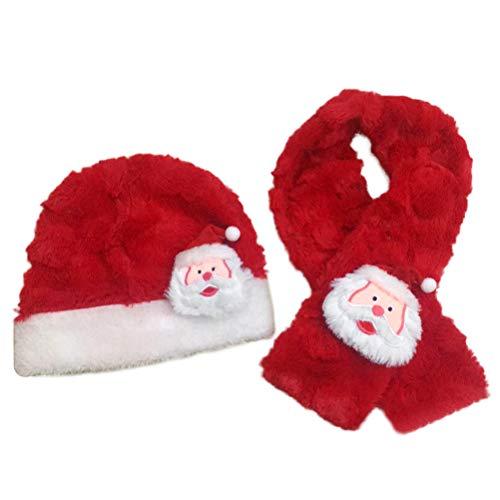 BESTOYARD Sombrero y Bufanda de Navidad Santa Claus Warm Plush Hat Bufanda Festival Traje para bebés niños (Rojo)