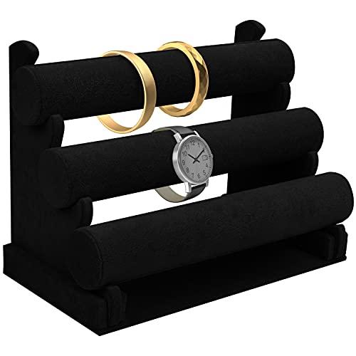 Armbandständer - (30x17x23cm) 3-Etagen Schmuckständer mit Abnehmbaren Stangen - Samt Organizer Ständer für Armbänder, Halsbänder, Uhren, Armreifen, Fußkettchen und Handschmuck (Schwarz)