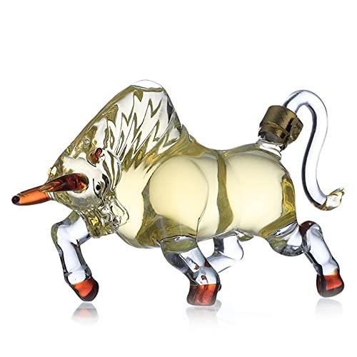 1000 ml Botella de Vidrio Brillante Conjunto de Vino sin Plomo Transparente Blanco Vino Sellado Botella Creativa en Forma de Vaca en Forma de Vidrio Espesado,B1000ML