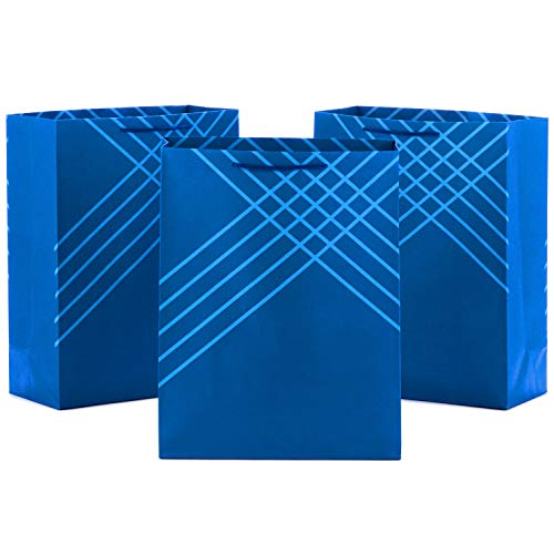 Hallmark 14' Extra Large Blue Gift Bags (Pack of 3) for Hanukkah, Christmas, Birthdays, Graduations, Father's Day, Baby Showers, Bridal Showers, Weddings