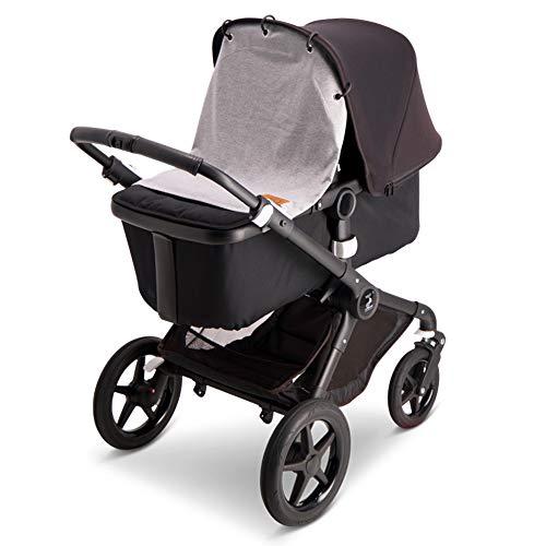 Baby Wallaby Sonnenschutz für die Meisten Kinderwägen, Buggys, und Karren, Sonnensegel, Baby Zubehör, 52x57 cm (Hellgrau)