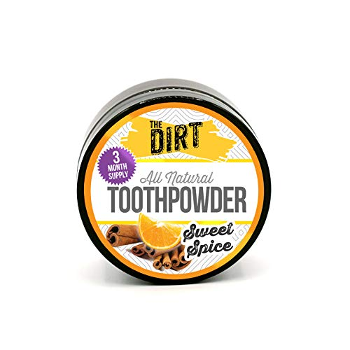 The Dirt All Natural Tooth Powder | Gluten Free, Natural Teeth Whitening with Essential Oils, No Added Sweeteners, Artificial Flavors or Colors, Fluoride Free | Sweet Spice | 3 Month Supply