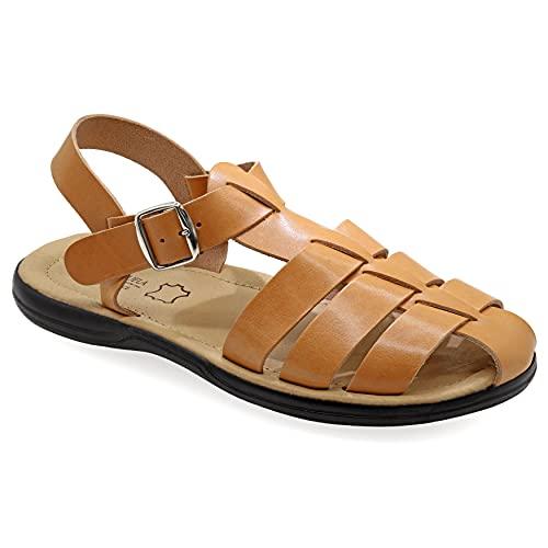 44 Beige Emmanuela Bequeme antike griechische Sandalen aus Leder für Herren, gepolsterte Einlegesohle Handgefertigte Ledersandalen, hochwertige verstellbare Sommerschuhe mit Schnalle