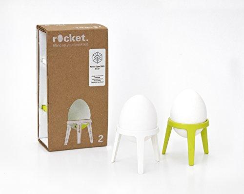 Brainstream Rocket 2er-Geschenkset, Eierbecher aus Metall, Limette/weiß