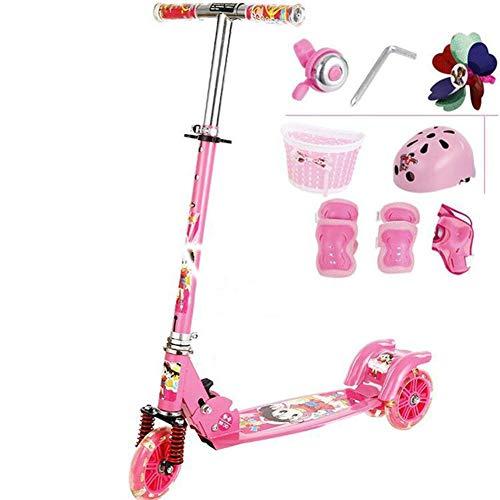 Thole Patinete Plegable NiñO Tipo Scooter con Pastillas De Freno Rueda De Flash De PU con Manillar Ajustable Freno Apto para 4-8 AñOs,Pink