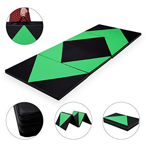 COSTWAY Weichbodenmatte 300 x 120 x 5 cm | Gymnastikmatte klappbar | Yogamatte verbindbar | Turnmatte groß | Klappmatte | Fitnessmatte Farbwahl (Grün)