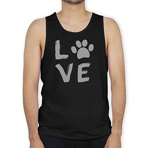 Shirtracer Hunde - Love Pfotenabdruck - XL - Schwarz - Tank Top - BCTM072 - Tanktop Herren und Tank-Top Männer
