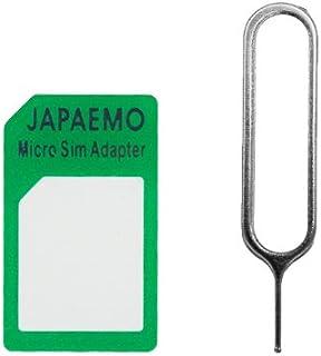 JAPAEMO製 マイクロSIMアダプタ グリーン SIMカード リリースピンセット for Apple iPhone4 microSIMカー ドをSIMカードに変換するアダプタ 緑