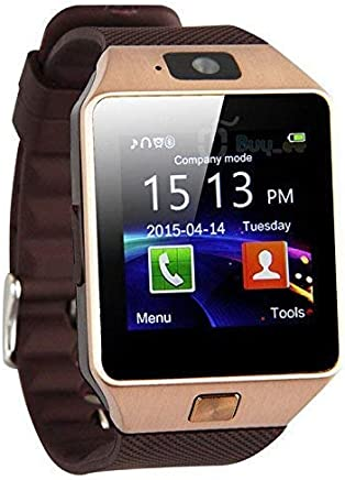 NALMAK DZ014 Model_SD5 Smartwatch Bluetooth Sweatproof Phone with Camera TF/SIM Card Slot for Android and iPhone Smartphones for Girls & Boys (Gold)