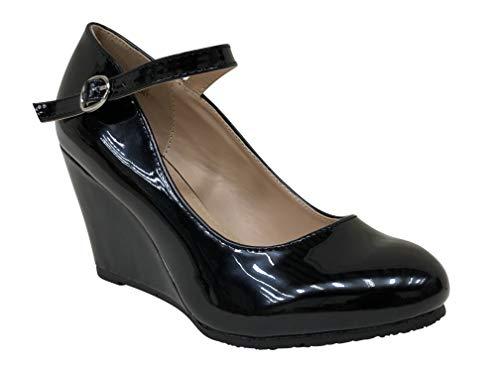 Bella Marie Denise-1 Womens Round Toe Wedge Heel Mary Jane Squeaky Strap Sue (Black Patent, 6)