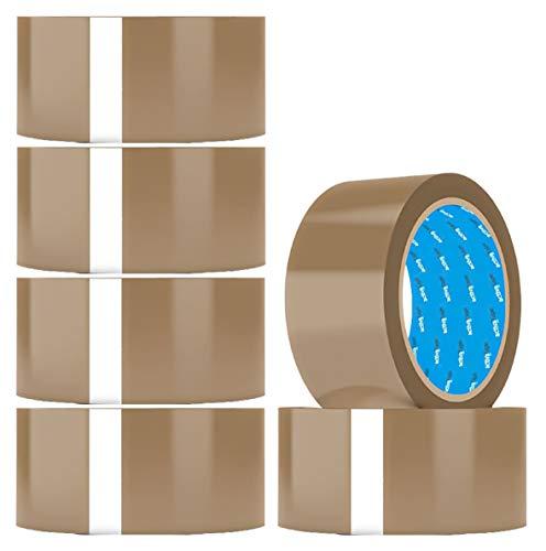 Premium Paketklebeband Rolle Klebeband braun 66m & 48mm breit Packband Paketband braun Paket Klebeband Verpackungsmaterial 6 Rollen Verpackung Tape für Handabroller geeignet