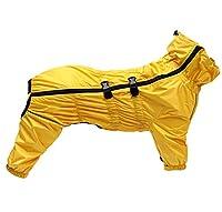 Manteau de pluie pour chien avec col haut imperméable pour chien Réfléchissant quatre pattes Combinaison pour chiots Taille S M Jaune XXL