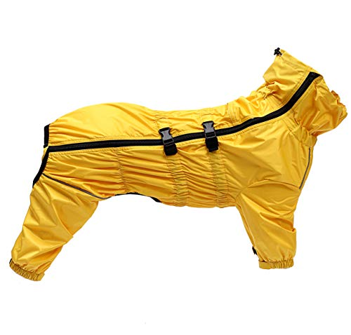 Geyecete1/2 Been Broek Suit, Hond Regenjas met hoge Waterdicht voor Honden Reflecterende Vier-Been regen Gear Jumpsuit voor Puppies Kleine Medium huisdier, XL, Geel