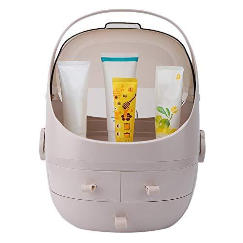 Cosmetic Organizer met drie schuifladen, voor het opbergen van make-up, waterdichte organizer voor de huid, wastafel, nachtkastje roze