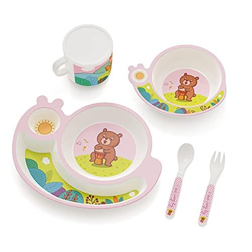 H HOMEWINS Vajilla infantil de 5 piezas hecha de bambú: plato, cuenco, cuchara, tenedor, taza, cubertería infantil sin BPA, juego de vajilla ecológica para bebés pequeños (Caracol - rosa)