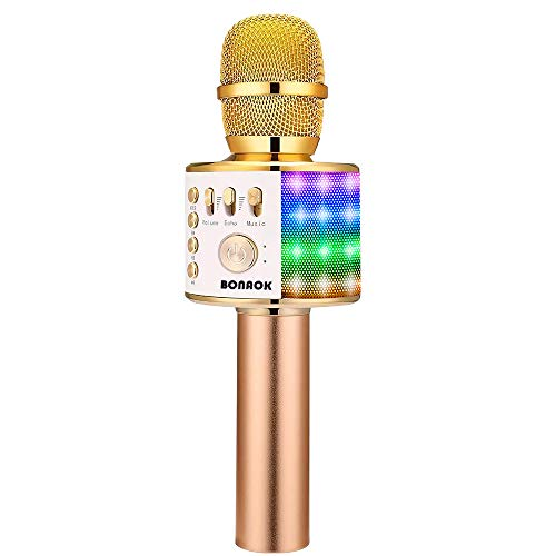 BONAOK Bluetooth Wireless Karaoke Microphone with LED Lights, 4 in 1 Portable Rechargeable Sing Mic for Android/iPhone/iPad/PC Christmas Kids Adults(Q37L GOLD)