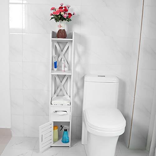 EBTOOLS Badschrank Badezimmerschrank Badkommode Hochschrank Badhochschrank Eckschrank aus Holz mit 2 offenen Fächern, 1 Schrank und 1 Papierfach, 120 × 22 × 22,5 cm