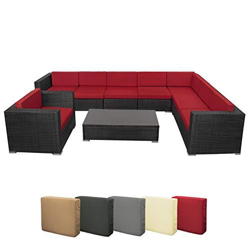 BB Sport 24-teilige Polyrattan Lounge 8 Personen Gartenmöbel Ecklounge Ecksofa Beistelltisch Sessel Balkon Terrasse Gartengarnitur Schwarz, Farbe:Abendsonne