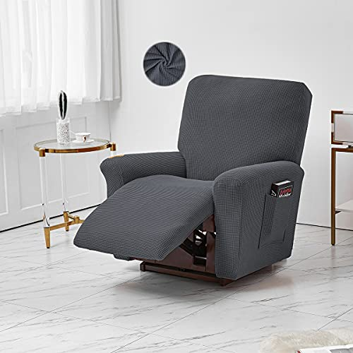 LiveGo Jacquard Recliner Chair Covers, Stretch Polyester Spandex Recliner Cover 4 Pieces, Reclining Chair Cover with Elastic Side Pocket, Armchair Cover for Living Room(Dark Grey)