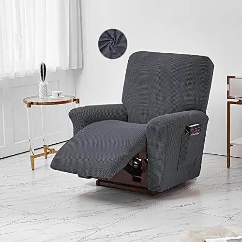 Jacquard-Liegestuhlhusse, Stretch Polyester Liegestuhl, Möbelbezug, Sofabezug mit elastischer Unterseite Seitentasche Fit für Wohnzimmer (Dunkelgrau)