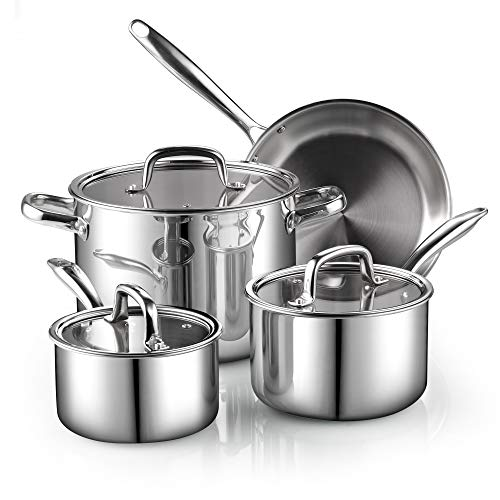 Cook N Home 7-Piece Tri-Ply Clad Stainless Steel...