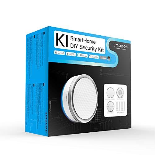 SMANOS K1 SmartHome Starter Kit - Sistema de Alarma Wifi para el Hogar, Alarma Contra Robo en el Hogar, Sensor de Movimiento para Puerta, Aplicación Compatible con Alexa y Google - 6 Piezas