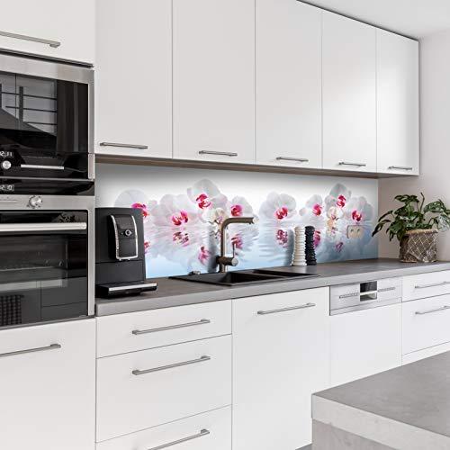 Dedeco Küchenrückwand Motiv: Blumen V1, 3mm Acrylglas Plexiglas als Spritzschutz für die Küchenwand Wandschutz Dekowand wasserfest, 3D-Effekt, alle Untergründe, 280 x 60 cm