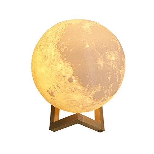 Starall 3D Moon Schreibtischlampe 2 Farbe wiederaufladbare LED Nachtlicht Schlafzimmer Bücherregal Lunar Tischleuchte (20 cm)
