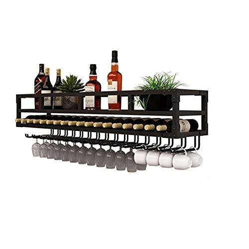 Estante de vino montado en la pared con soportes de vidrio y tazas, estantes de vino colgante Estantes de metal flotantes de 2 niveles, botella de vino Talleres de vidrio para cocina, barra