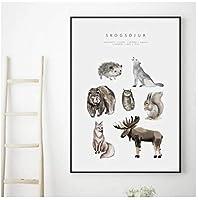 ウォールアートキャンバス絵画恐竜クジラウッドランド動物アートプリント北欧のポスターとプリント壁の写真ベビーキッズルームの装飾-50x75cmフレームなし