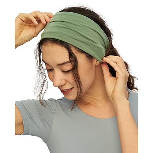 Lulucheri Sport Stirnband Damen und Herren Schweißband für Sport, Workout, Laufen, Radfahren und Yoga Haarband Anti Rutsch (Salbeigrün)